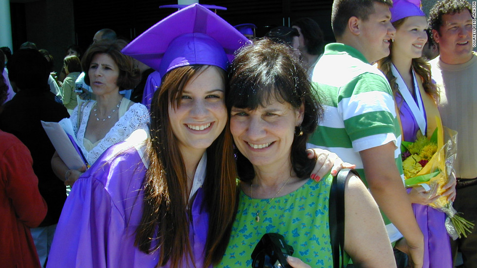 Emily Jackson and her mother, Ellen, on her high school graduation day in 2006.