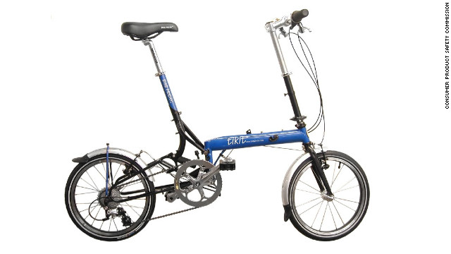 The Consumer Product Safety Commission announced a voluntary recall of more than 3,800 tikit brand folding bicycles.