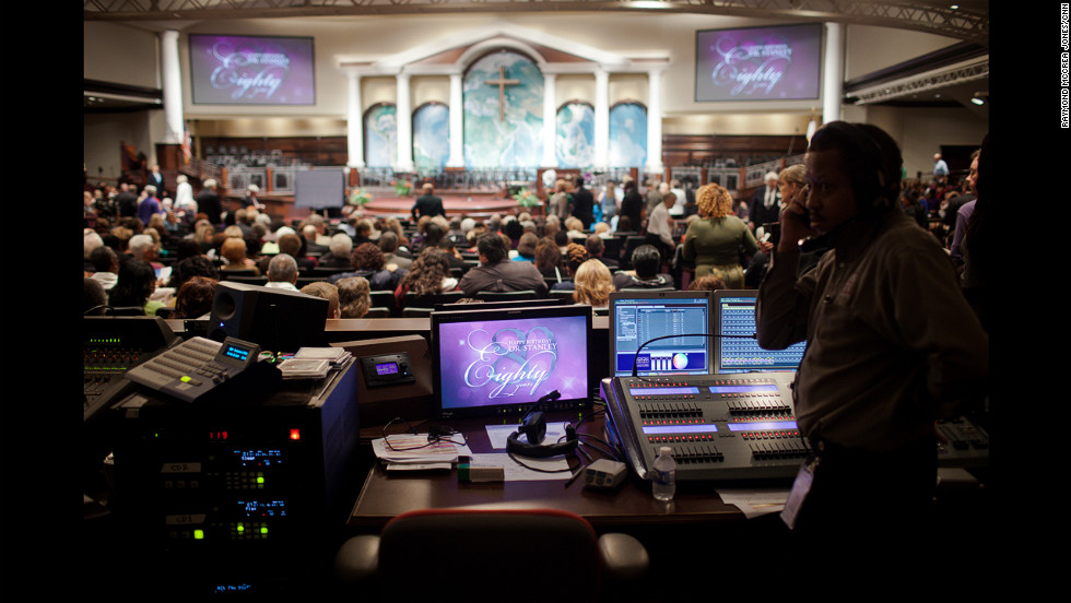 A technician at First Baptist Church Atlanta prepares to celebrate the 80th birthday of Charles Stanley, the church's senior pastor. Stanley was a church innovator, one of the first pastors to install an orchestra in a church. His embrace of technology helped spread his reputation.