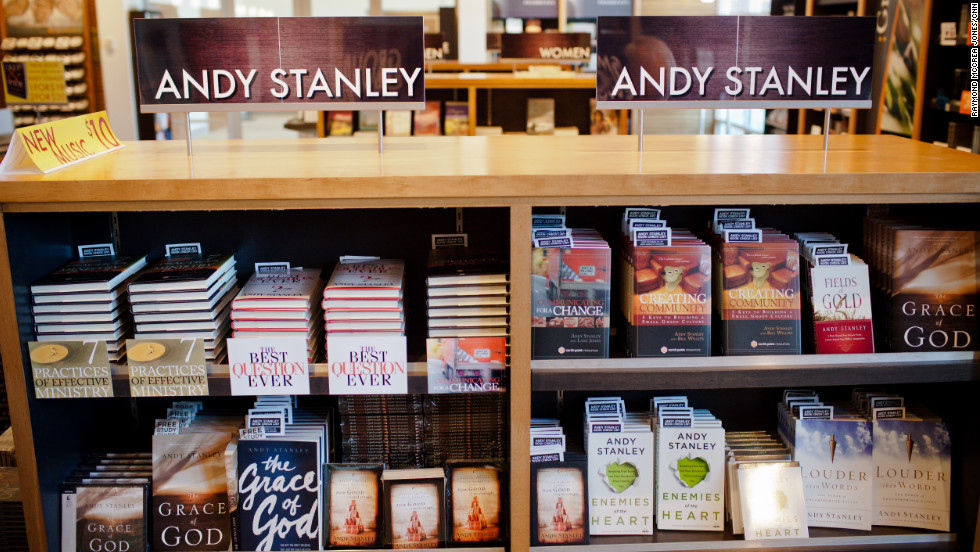 Andy Stanley's books fill the shelves at North Point Community Church's bookstore. Stanley's books, which often center on self-help and leadership themes, are so popular that even some non-Christians purchase them for tips on leading organizations.