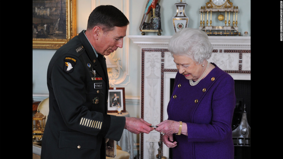 Britain's Queen Elizabeth meets Petraeus in March 2011. The general was still serving as commander of U.S. and NATO forces in Afghanistan.