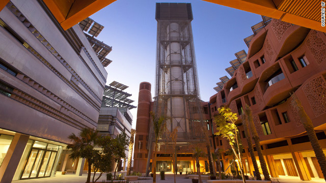 The wind tower at the Masdar Institute, based on a traditional Middle Eastern concept.