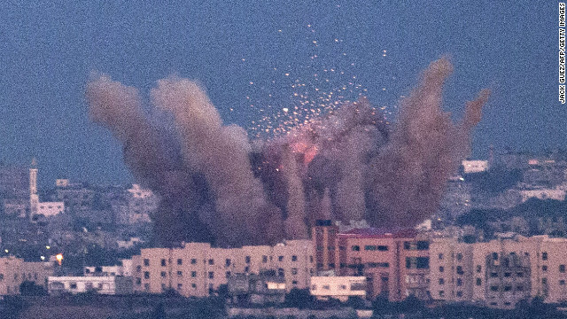 'Raining bombs' on Gaza Strip