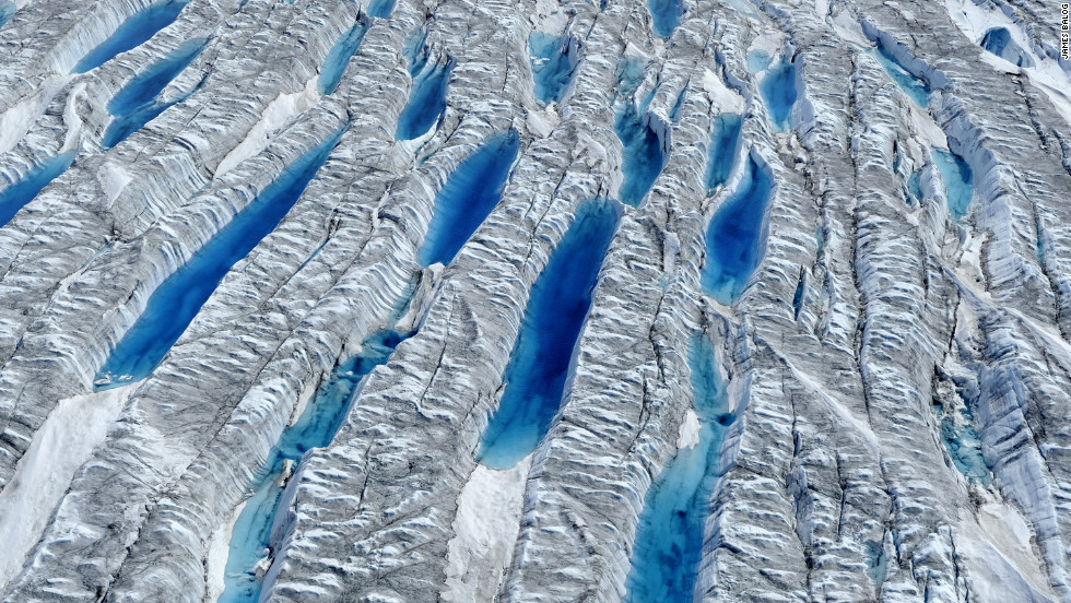Aerial view of meltwater on Greenland Ice Sheet, June 2010. <em>Courtesy of James Balog</em>