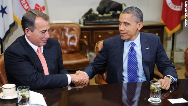 President Barack Obama and Speaker of the House John Boehner open 'fiscal cliff' negotiations with a bipartisan group of congressional leaders at the White House Friday.