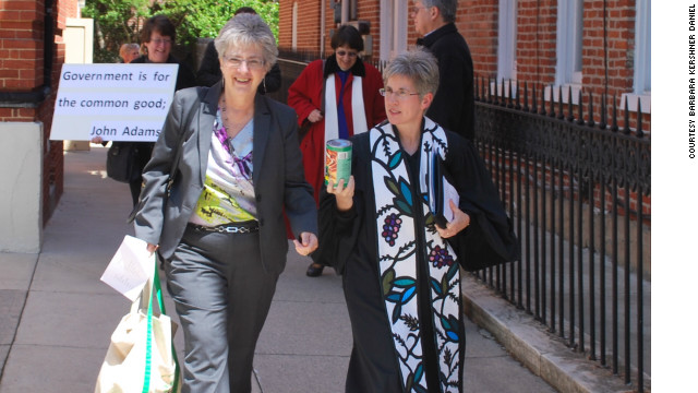 Rev. Barbara Kershner Daniel, right, fought for same-sex marriage in Maryland.