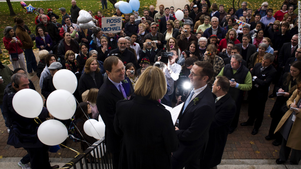 Michael Miller, left, and Ross Zachs marry on the West Hartford Town Hall steps after same-sex marriage became legal in Connecticut on November 12, 2008.