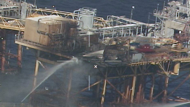 Commercial vessels extinguish a fire at an oil platform about 20 miles off Grand Isle, Louisiana, last week.