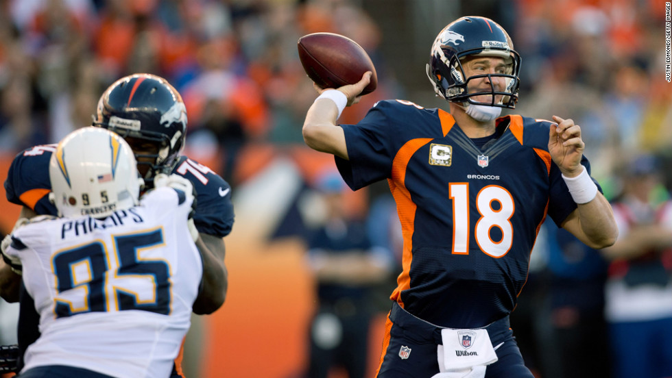 Quarterback Peyton Manning of the Denver Broncos throws a pass against the San Diego Chargers at Sports Authority Field at Mile High on Sunday in Denver.