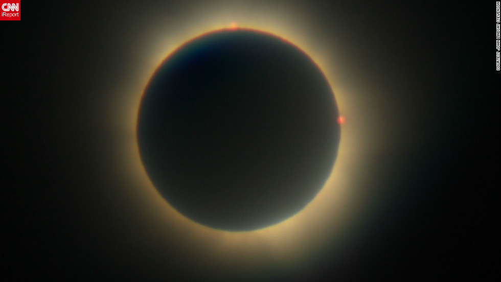 "This was <a href=""http://ireport.cnn.com/docs/DOC-881794"" target=""_blank"">John Lindsay Stevenson's</a> second eclipse. The 52-year-old postman from the small island of Bribie says: ""My father took me to my first eclipse in 1976 when I was 16, but it was totally clouded out and we never saw it. It was a huge disappointment but it was enough to definitely want to experience another."""