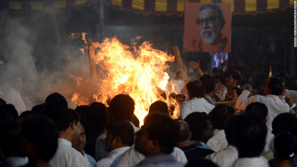 The funeral pyre of  Bal Thackeray goes up in flames in Mumbai.