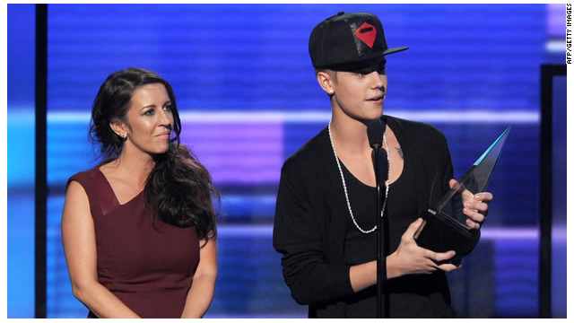 Justin Bieber and his mother, Patti Mallette.