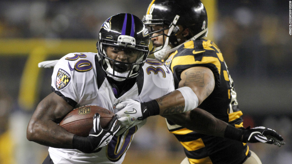 Bernard Pierce of the Baltimore Ravens carries the ball against the Pittsburgh Steelers on Sunday, November 18, at Heinz Field in Pittsburgh.