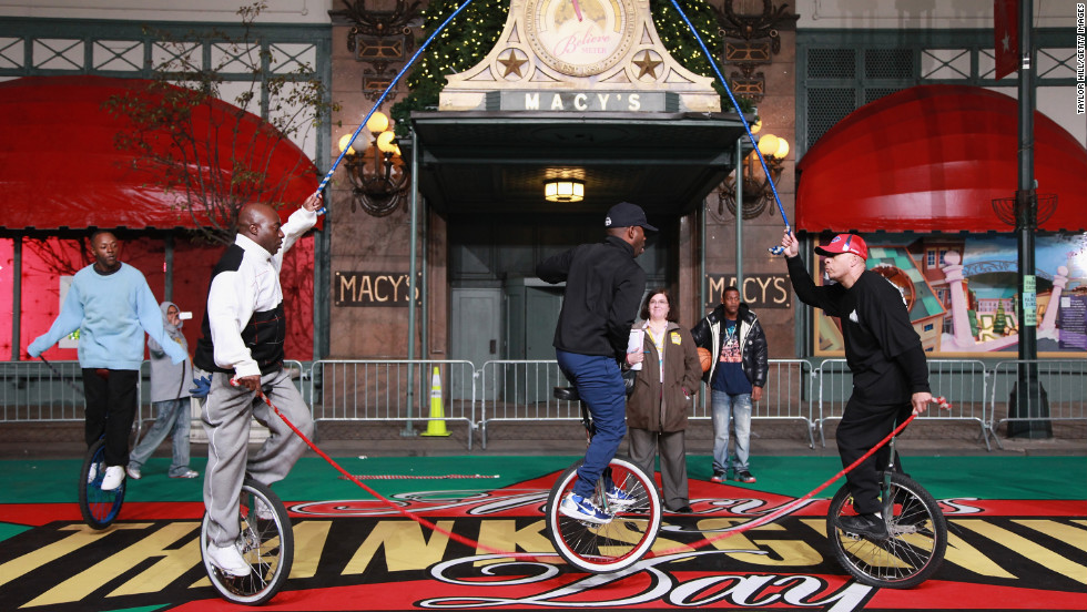 The King Charles Unicycle Troupe of the Bronx performs a double dutch routine.