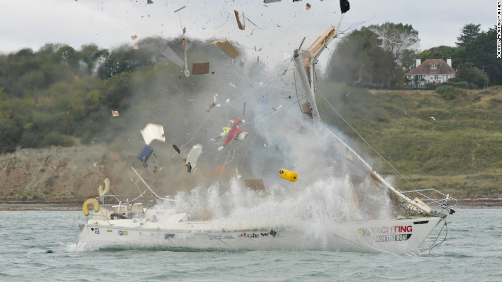 "Sailing experts from British magazine Yachting Monthly have recreated eight nautical disasters as part of their ""Crash Test Boat"" study, ending with a gas explosion."