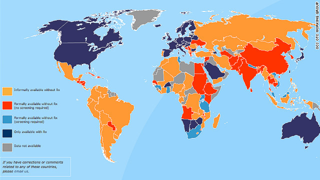 A map from the group OCs OTC shows the countries that still require a prescription for birth control medication in navy blue.