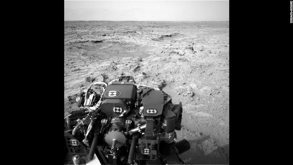 "The Mars rover Curiosity recorded this view from its left navigation camera after an 83-foot eastward drive on November 18, 2012. The view is toward ""Yellowknife Bay"" in the ""Glenelg"" area of Gale Crater."