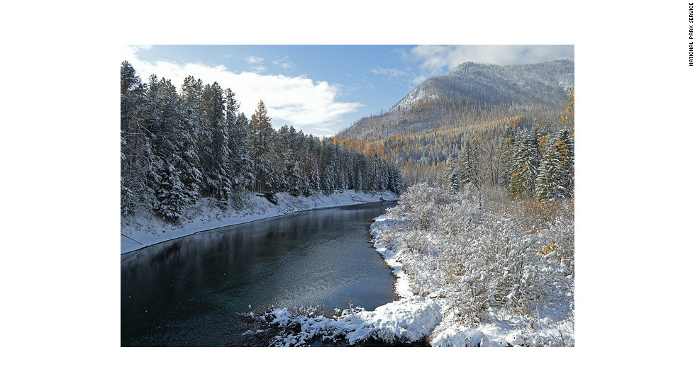 Glacier National Park in Montana offers more than 700 miles of hiking trails. This snowy view of Apgar Mountain is from Lower McDonald Creek.