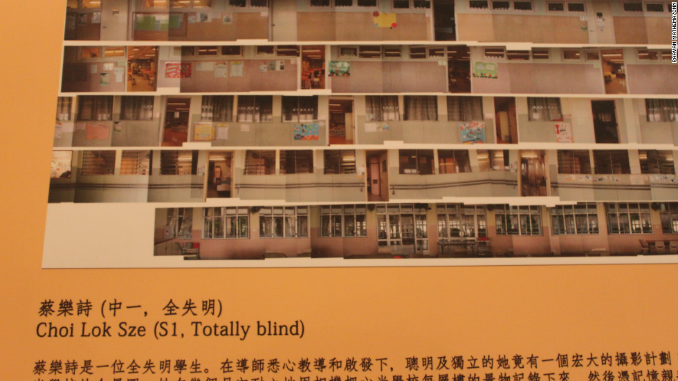 A collage produced by Choi Lok Sze for which she took a picture of each classroom in her school. Lok Sze is completely blind.