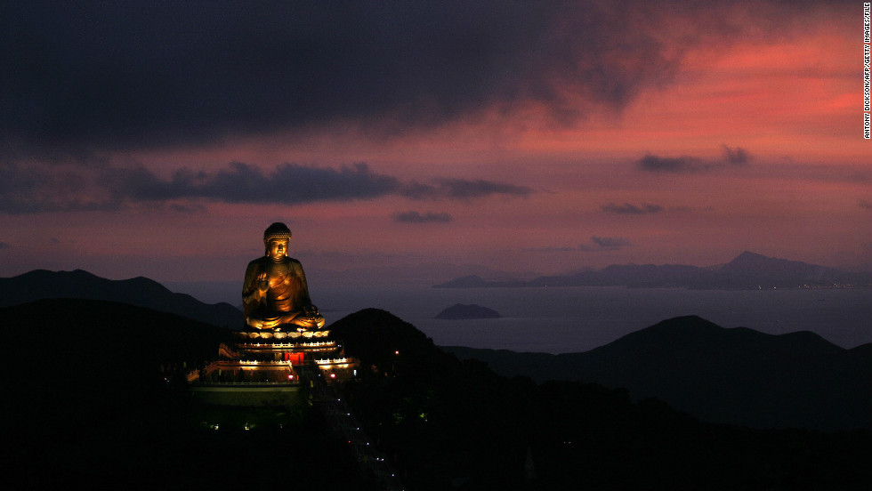 Seeing Po Lin Monastery's giant Buddha as she rode a cable car up to its perch inspired a sense of awe in children's author Grace Lin.