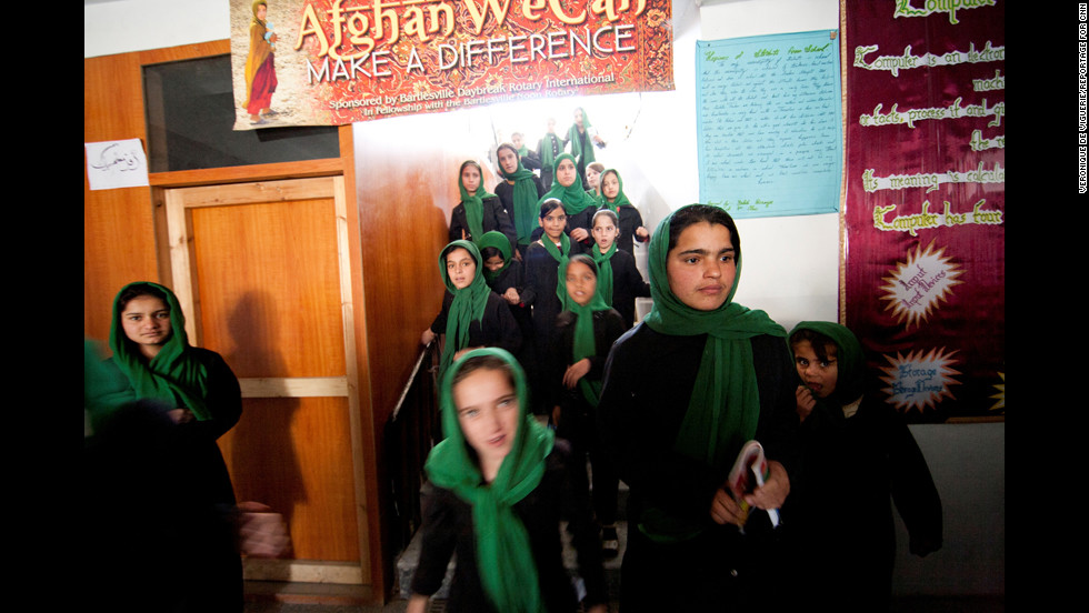 Students at the school are released on their lunch break. Many armed groups in Afghanistan oppose the idea of girls being educated, and there have been violent attacks on some schools.