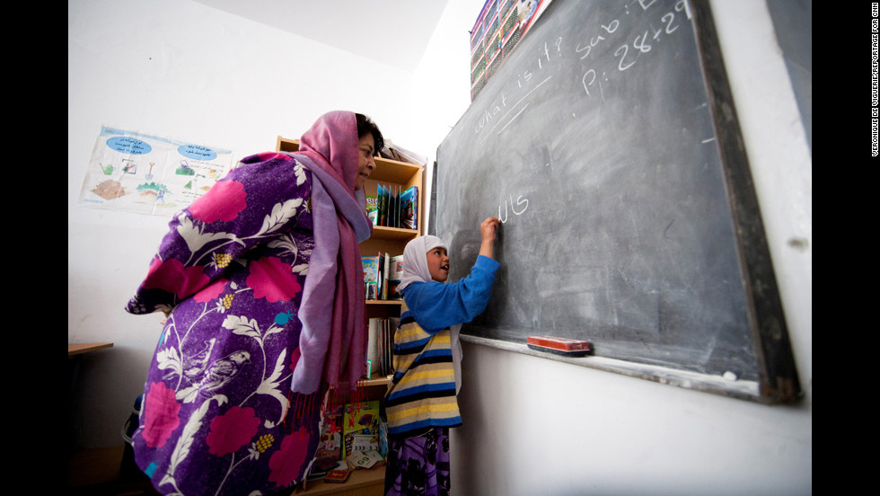 "Jan's school teaches math, science, religion and three languages: English, Farsi and Pashto. ""Most of our students are the first generation of girls to get educated,"" Jan said."