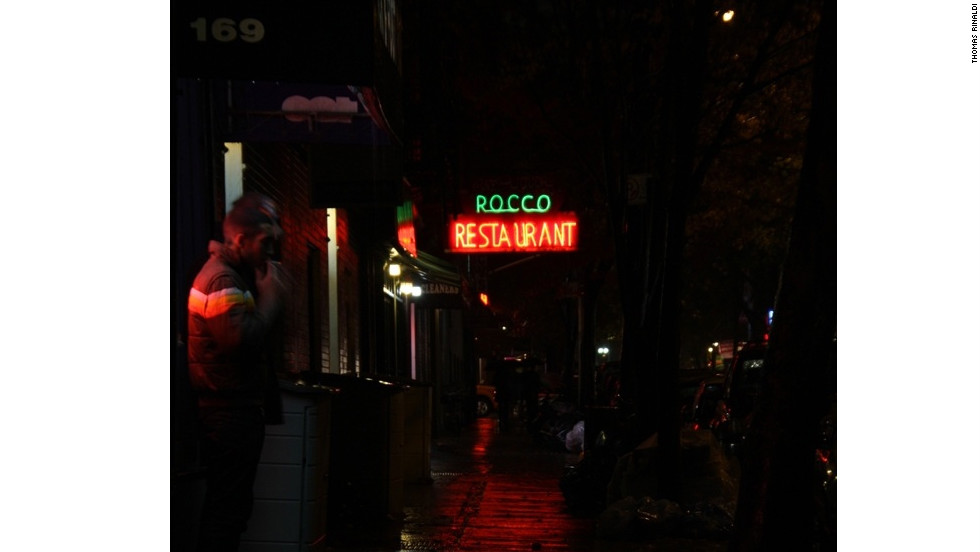 At 1934 sign marks Rocco Restaurant on Thompson Street in Manhattan.
