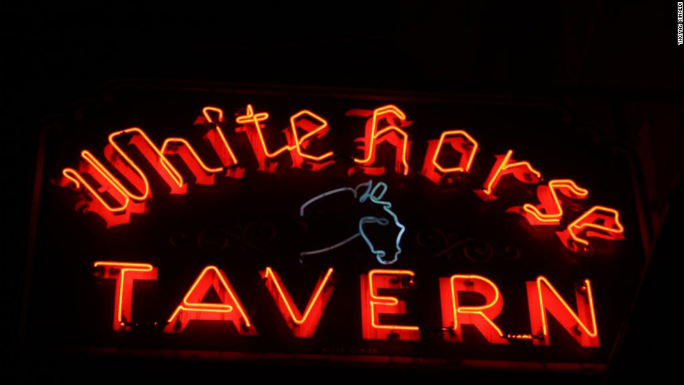 The White Horse Tavern sign on Hudson Street in Manhattan was made in 1947 by the Allen Sign Co.