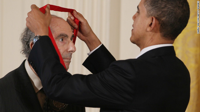 President Obama presents the 2010 National Humanities Medal to novelist Philip Roth during a White House ceremony in 2011.