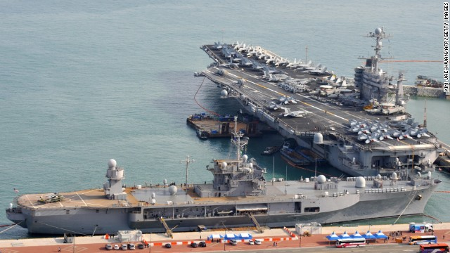 The aircraft carrier USS John C. Stennis is anchored at a South Korean base in this 2009 photo.