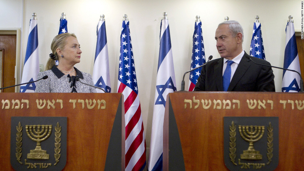 Israeli Prime Minister Benjamin Netanyahu and U.S. Secretary of State Hillary Clinton met to deliver joint statements in Jerusalem, Tuesday.