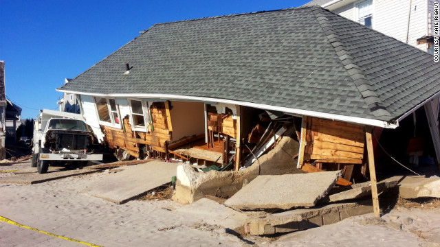 Kate Rigaut's home in Belle Harbor, New York after Superstorm Sandy barreled through the region.