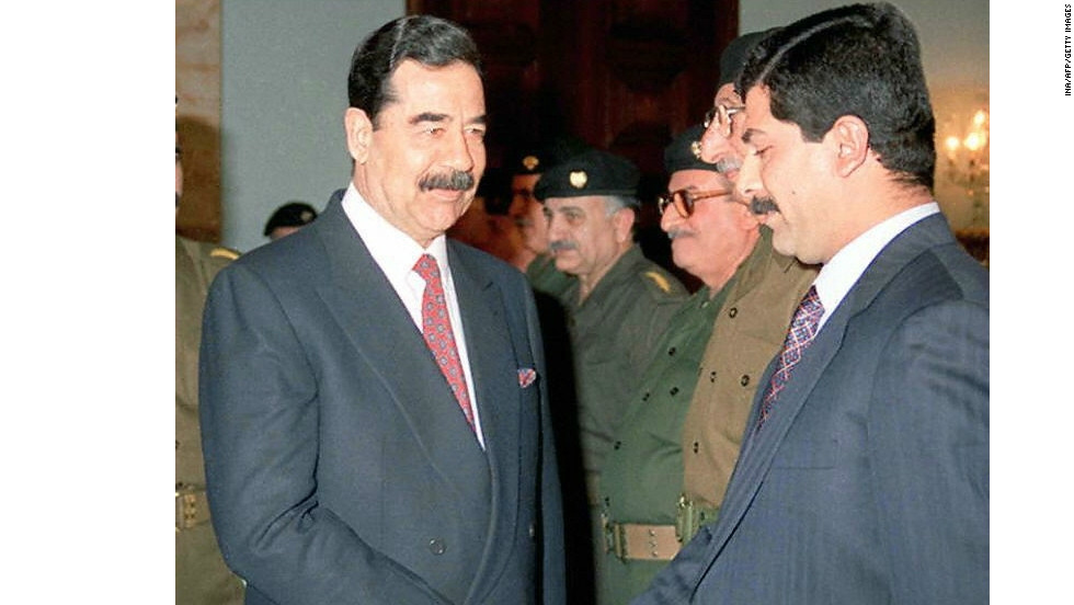 Former Iraqi President Saddam Hussein and his son Qusay in 1997. All of Iraq's presidents before and since have also had mustaches, as did Nasser and Sadat of Egypt (and the kings and sultans before them), Turkey's Erdogan (and two preceding prime ministers), and Syria's Assad (and his father).