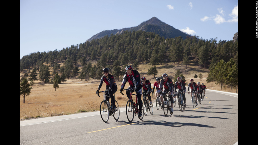 Strode leads a group of cyclists in Boulder, Colorado.
