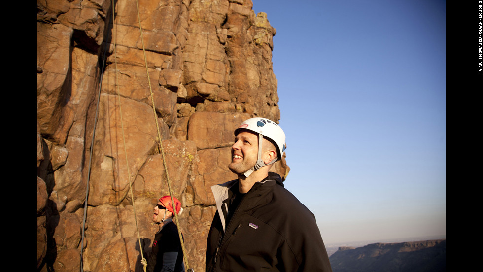 Strode does some rock-climbing with a Phoenix group in Boulder.
