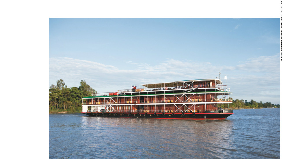 This ship will sail the Mekong River from Ho Chi Minh City to Hanoi, Vietnam, including stops in Phnom Penh and Siem Reap, Cambodia.