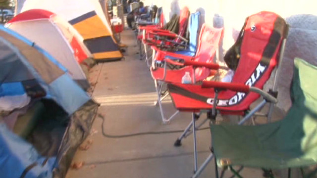 Tent community of Black Friday shoppers
