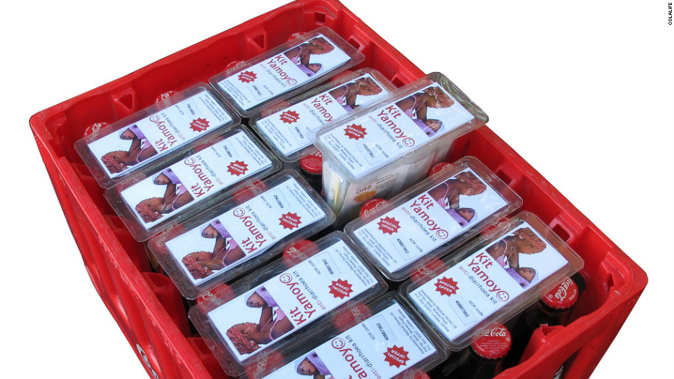 "Ten packages of ""Kit Yamoyo"" anti-diarrhea kits fit easily into a single crate of cola."
