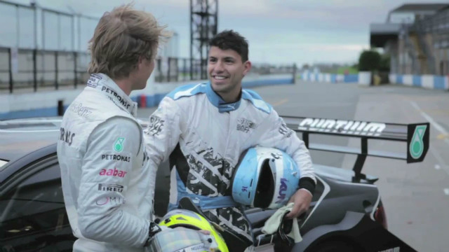 F1's Nico Rosberg scares Sergio Aguero