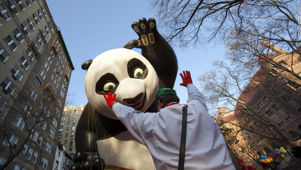 The Kung Fu Panda balloon is lifted at the start of the parade.
