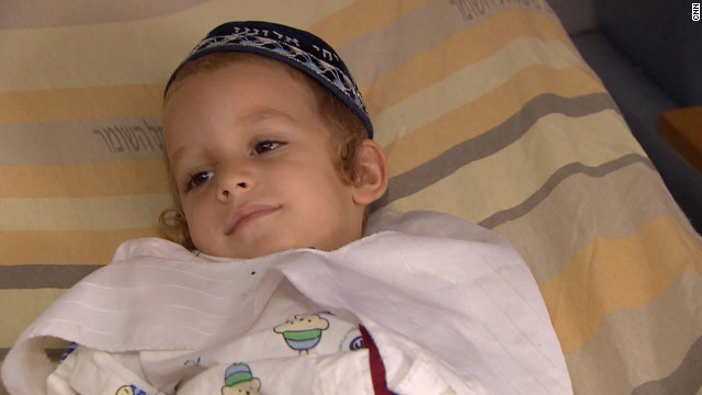 Yosef, 4, lost his mother in the conflict.