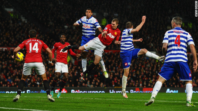 Darren Fletcher scores Manchester United's second goal in Saturday's 3-1 victory at home to QPR.