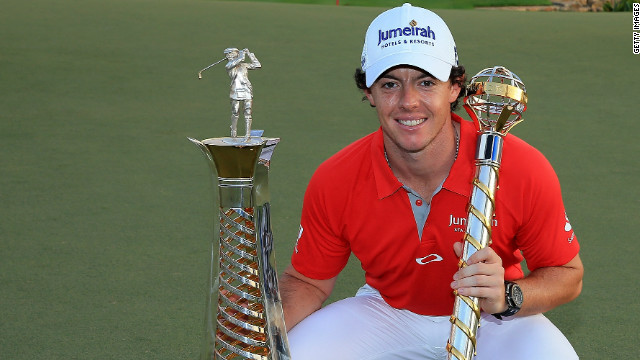 Rory McIlroy smiles for the cameras after clinching the Race to Dubai and World Tour Championship.