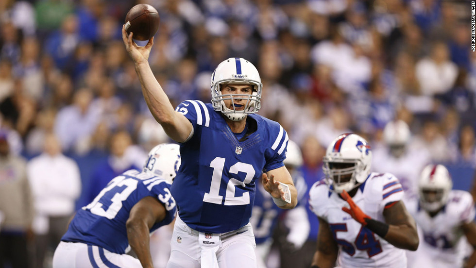 Andrew Luck of the Colts throws a pass in the first half against the Bills on Sunday.