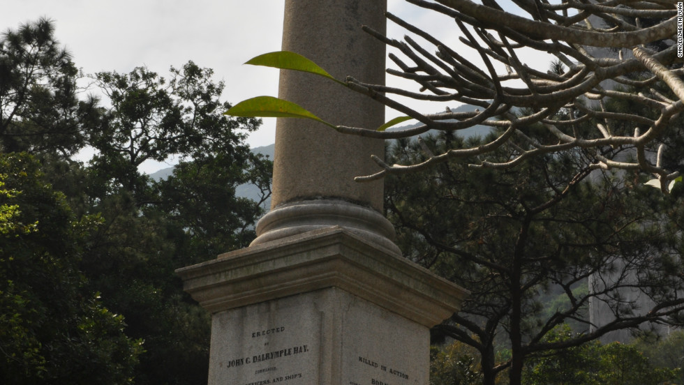 The monument, erected in 1850, is dedicated to 20 men from Britain's HMS Columbine, which saw battle in Borneo and against Chinese pirate Chui Apou and his fleet. The cut-off pillar signifies dying in the prime of life.