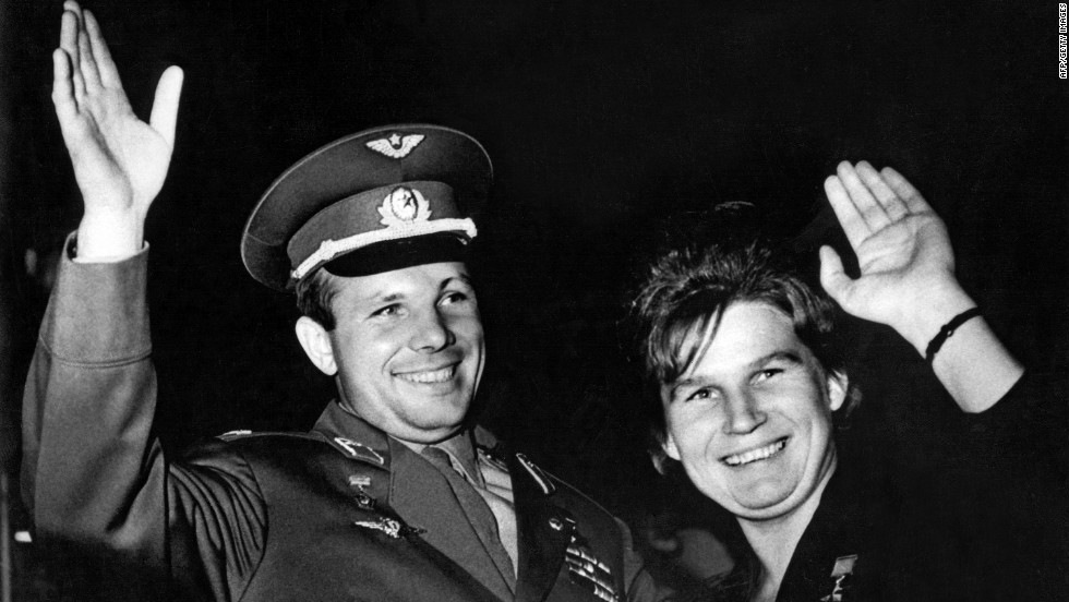 Valentina Tereshkova, seen here with Gagarin, piloted the Vostok 6 on June 16, 1963, becoming the first woman to fly into space.