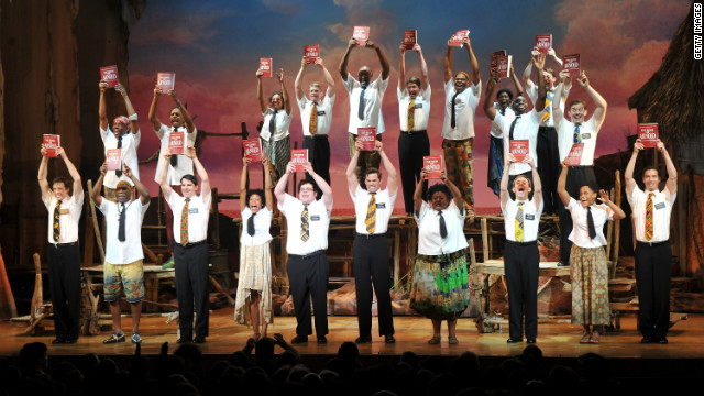 The cast of 'The Book of Mormon' during the curtain call on March 24, 2011 in New York City..