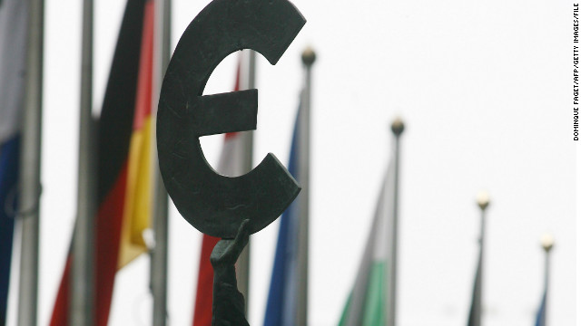 File photo of  Euro symbol statue in Brussels.
