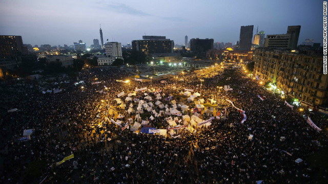 Tens of thousands people take part in a mass rally against a decree by President Mohamed Morsy granting himself broad powers on November 27, 2012 at Egypt's landmark Tahir Square in Cairo.