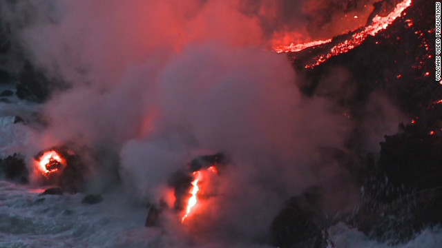 Watch lava flow into ocean